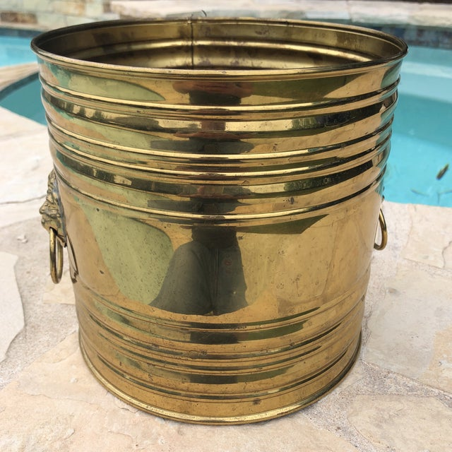 Vintage English Brass Dual Lions Head Planter For Sale - Image 5 of 10