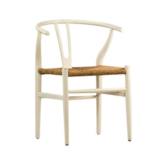 White Woven Oak Chair For Sale