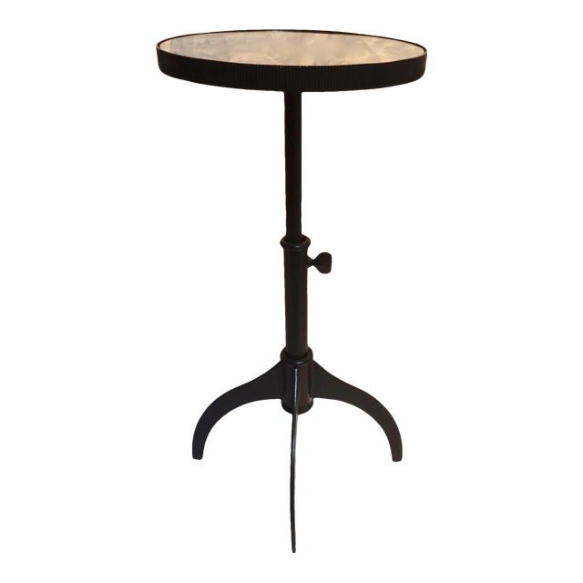 Lumiere Adjustable Black Mirrored Top Accent Table by Bernhardt For Sale