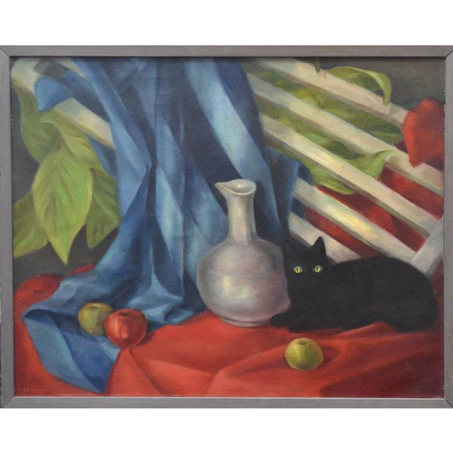 Black Cat & Vase Still Life Painting For Sale