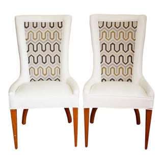 1930s French Art Deco Chevron Side Chairs - a Pair For Sale