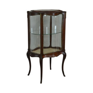 French Louis XV Style Antique Mahogany Curved Glass Vitrine Display Cabinet For Sale