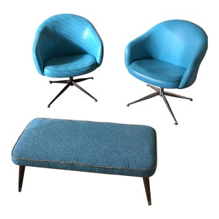 Viko Baumritter Swivel Chairs and Ottoman - Set of 3