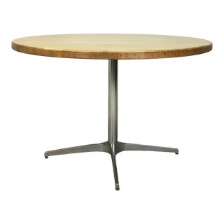 Mid Century Round Maple Dining Table With Chrome Base for Workbench For Sale