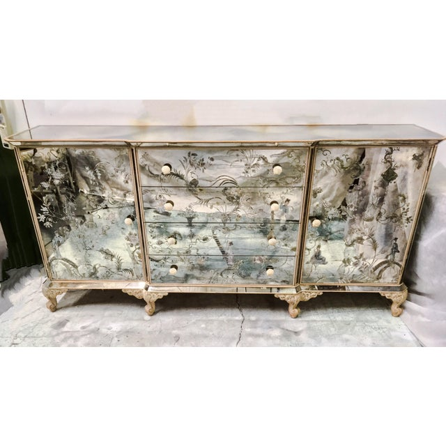 1950s Mirrored Chinoiserie Credenza - Image 2 of 10