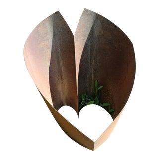 Contemporary Modern Round Heart Abstract Outdoor Metal Garden Sculpture For Sale
