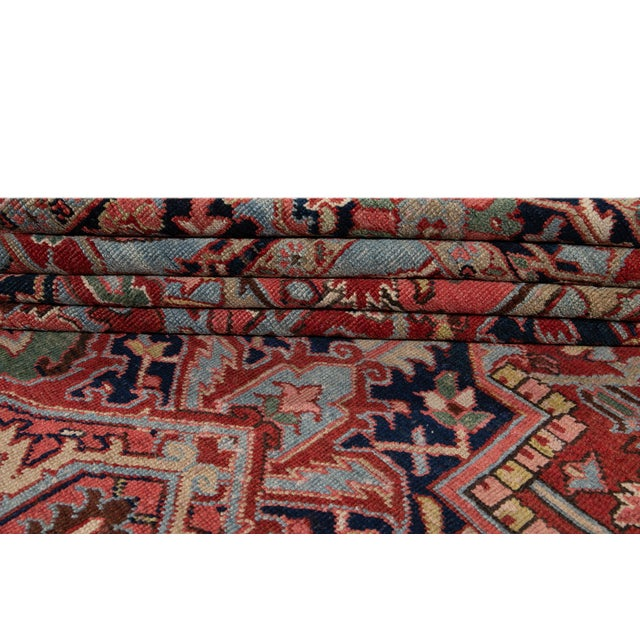 Early 20th Century Antique Persian Heriz Wool Rug For Sale - Image 4 of 13