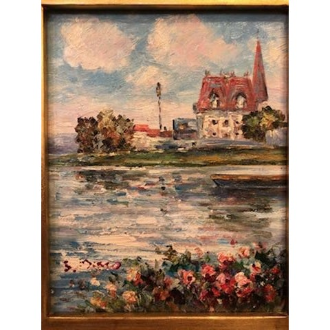 Traditional 1980s Impressionistic Water Scene Oil on Canvas Painting For Sale - Image 3 of 7