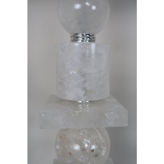 Pair of Sculptural Rock Crystal Quartz Lamps w/ Linen Shades - Image 9 of 10