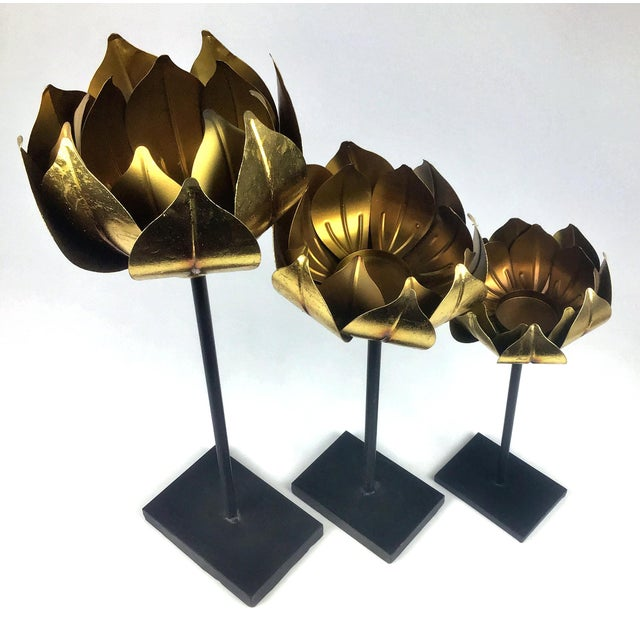 Gold Finish Tall Statement Lotus Design Candle Holders - Set of 3 For Sale - Image 10 of 10