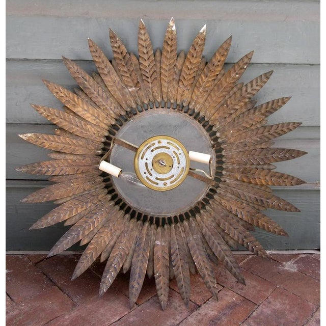 20th Century Spanish Barcelona Gilt Tole Sunburst Flush Mount Chandelier For Sale In Charleston - Image 6 of 6