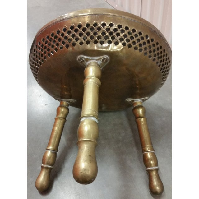 Authentic Antique Brass Moroccan Brazier Stool - Image 6 of 9