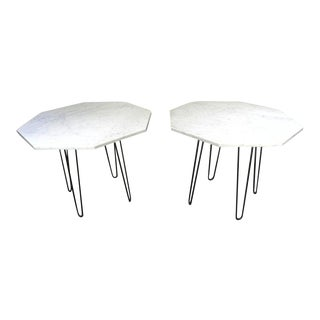 Vintage Mid Century White Marble Octagon End Tables - a Pair For Sale