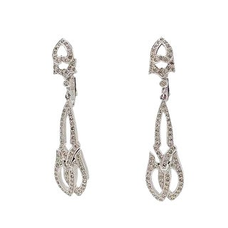 1960s Polcini Deco Style Rhinestone Earrings For Sale
