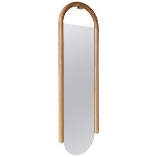 Halo Mirror Wall Mounted Birnam Wood Studio in Cherry and Curly Maple For Sale
