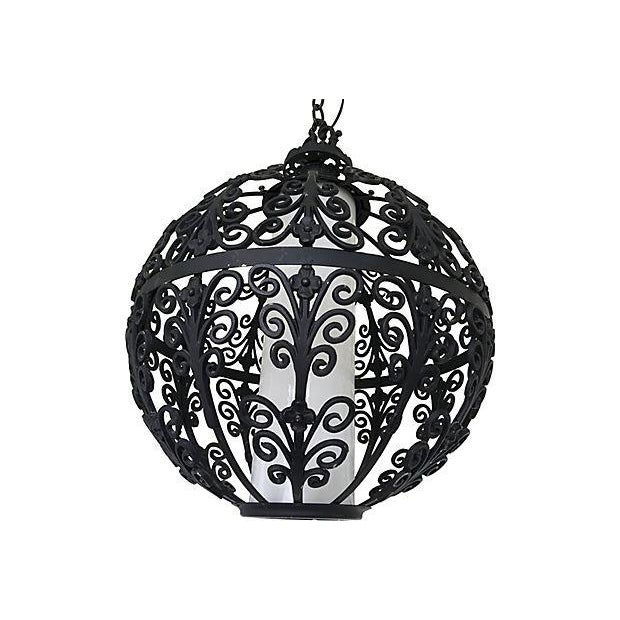 Outstanding oversize mid-century wrought iron globe pendant light by Feldman in its original matte black finish with its...