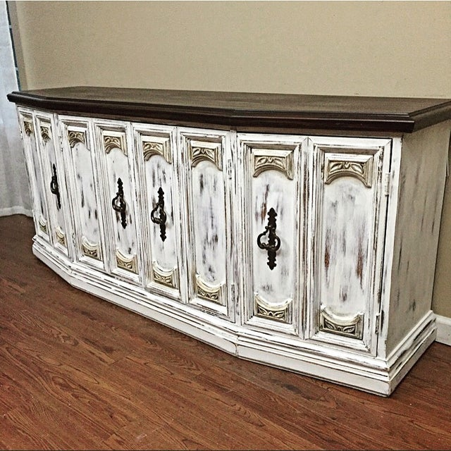 Distressed Wooden Sideboard Buffet - Image 3 of 9