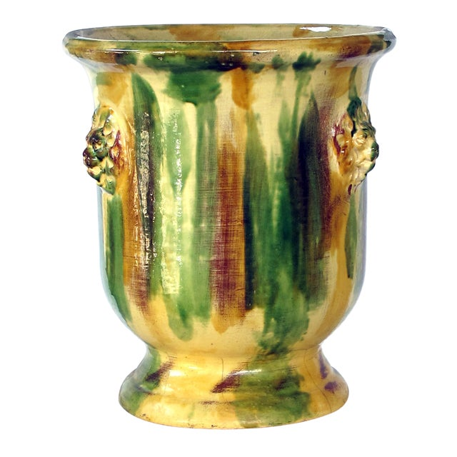 French Anduze Style Drip-Glazed Pottery Garden Urn For Sale