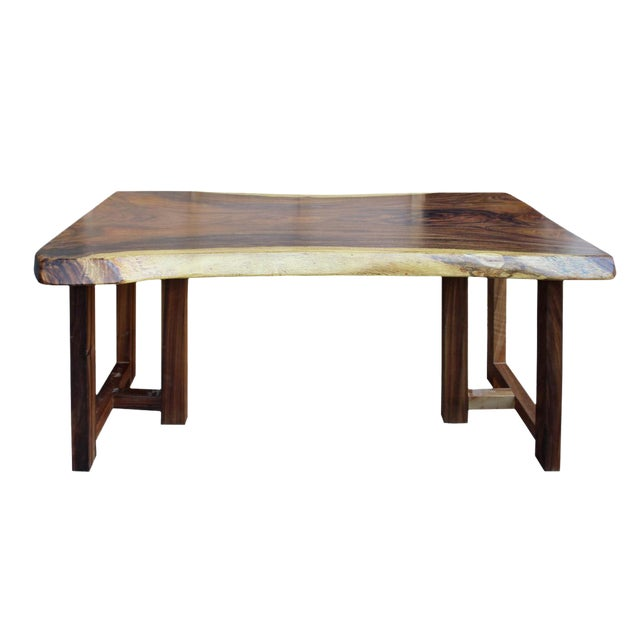 Raw Wood Rectangular Plank Table / Desk For Sale