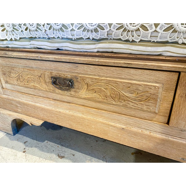 Wood 19th Century French Wood Banquette Bench With Cotton Cushion and Storage For Sale - Image 7 of 13