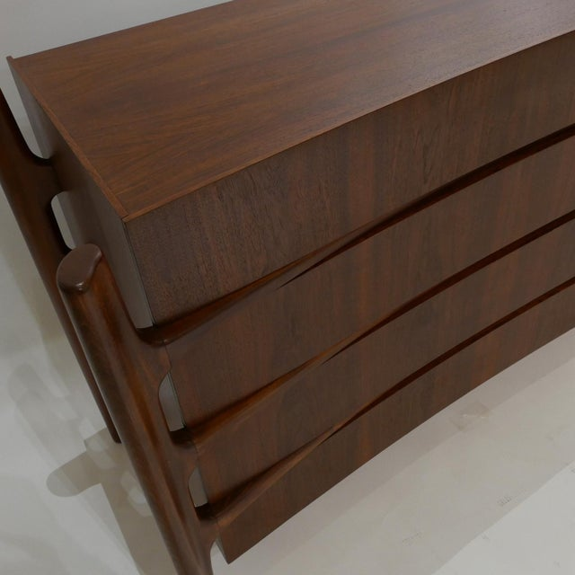 Wood Stilted Curved Scandinavian Mid-Century Modern William Hinn Chest or Dresser For Sale - Image 7 of 13
