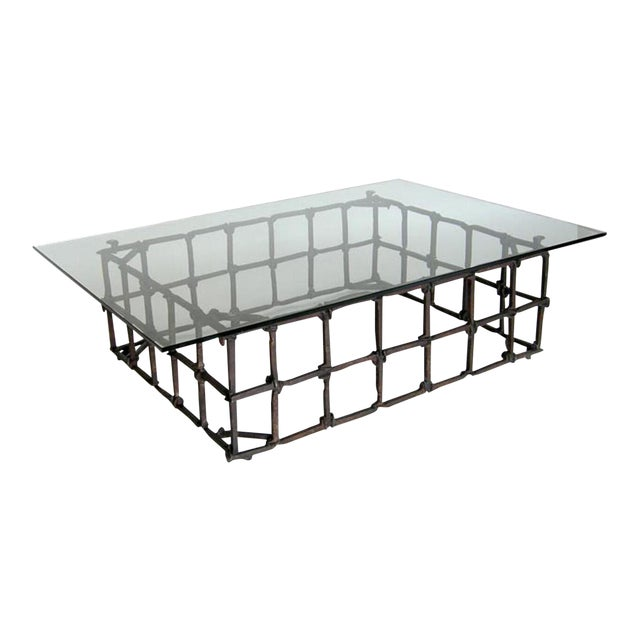 Custom Rail Road Spike Coffee Table with Glass Top For Sale