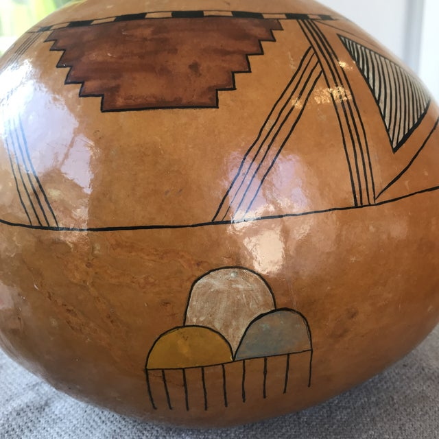 Vintage Hand Painted Gourd Hopi Sunface For Sale - Image 9 of 11