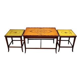Mid-Century English Regency Adam Style Mahogany Nesting Tables For Sale