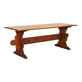 Antique Swedish Pine Farm Table Trestle Table For Sale