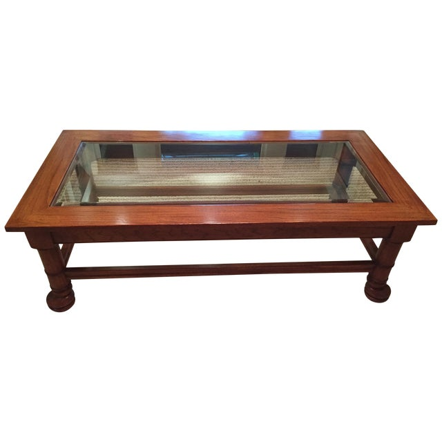 Traditional Wood & Glass Coffee Table - Image 1 of 8