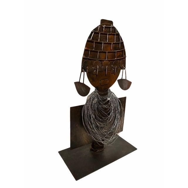 Modernist African Queen Sculpted Metal Design Art Sculpture Linea Oxido Argentina