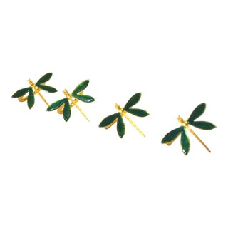 Enamel Dragonfly Napkin Rings - Set of 4