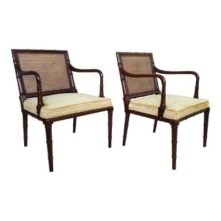 Pair Chairs - 1960s Carved Faux Bamboo Wood Upholstered- Hickory Hollywood Regency Chippendale Mid Century MCM Boho Palm Beach Chic Wicker Rattan Tree For Sale