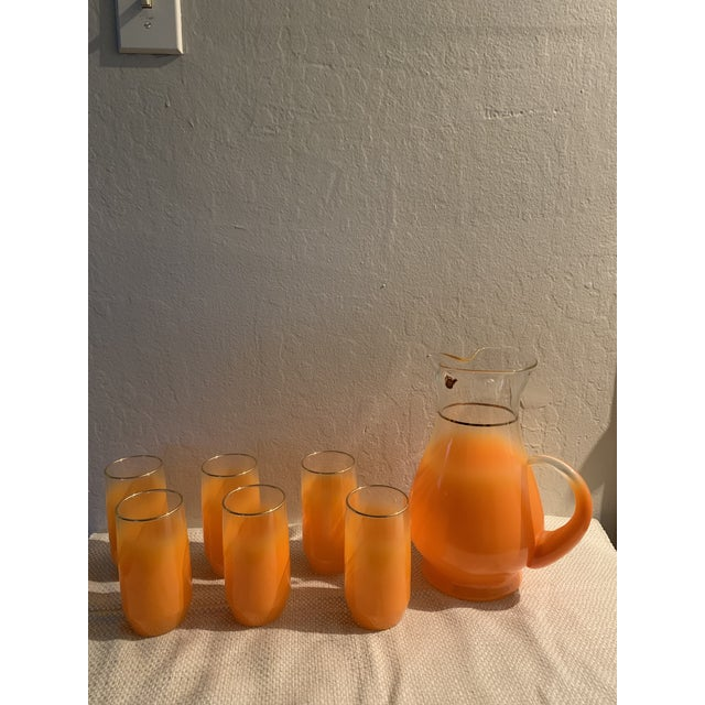 1960s Mid-Century Orange Glasses and Pitcher Bar Ware - 7 Pieces For Sale In San Francisco - Image 6 of 6