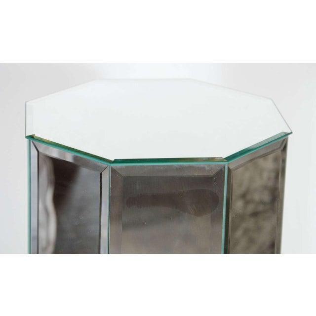 1970s Vintage Beveled Mirrored Pedestal For Sale - Image 4 of 5