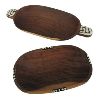 Horn Inlaid Wood Serving Bowls - a Pair