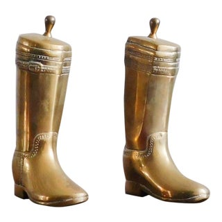 1950s Vintage Brass Riding Boot Bookends - A Pair