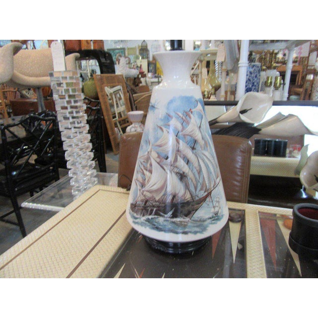 Hand Painted Ship Lamp - Image 3 of 9