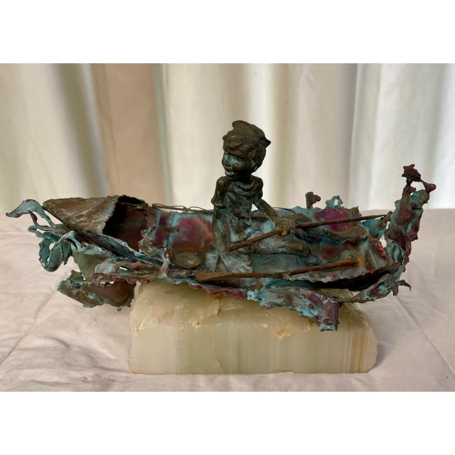 """1970s Boy in Boat Metal Sculpture Marked """"C Jere"""" For Sale - Image 12 of 12"""