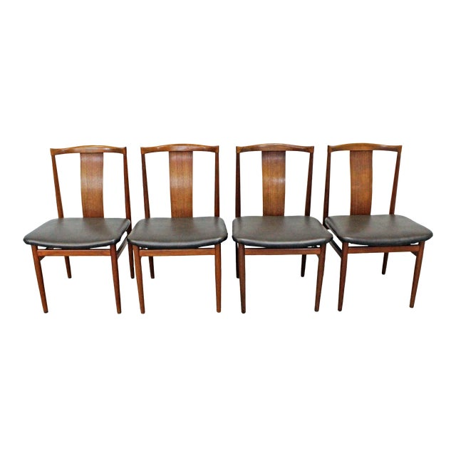 Set of 4 Mid-Century Modern Folke Ohlsson Style Teak Dining Chairs For Sale
