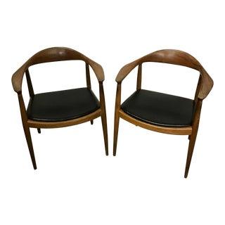 1950s Vintage Hans Wegner for Johannes Hansen Round Chairs- A Pair For Sale