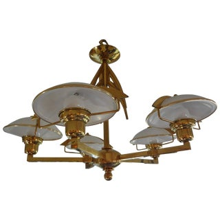 Italian Mid Century Modern Stilnovo Style 5 Light Brass and Glass Chandelier For Sale