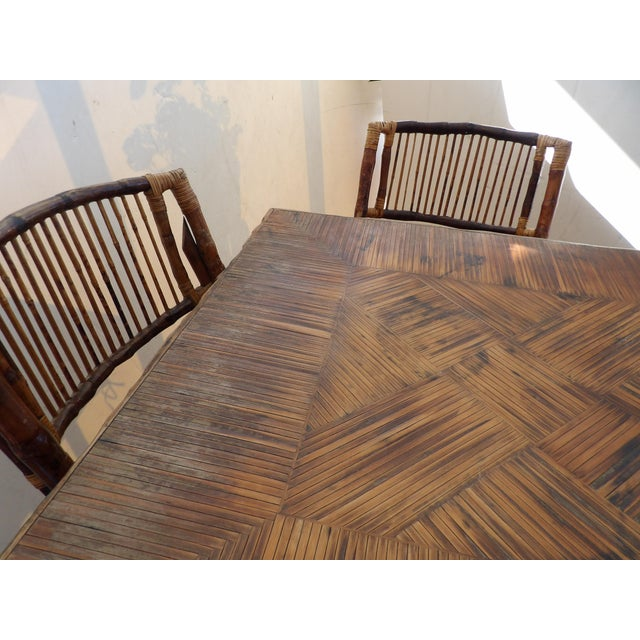 Wood Florida Rattan and Bamboo Folding Game Table With Six Folding Chairs - 7 Pieces For Sale - Image 7 of 9