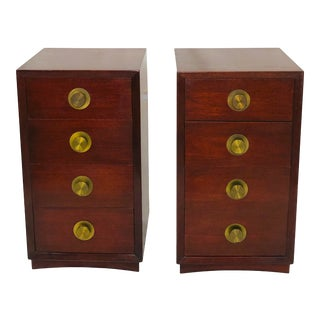 Thomasville Mid Century Modern Mahogany 4 Drawer Nightstands- a Pair For Sale