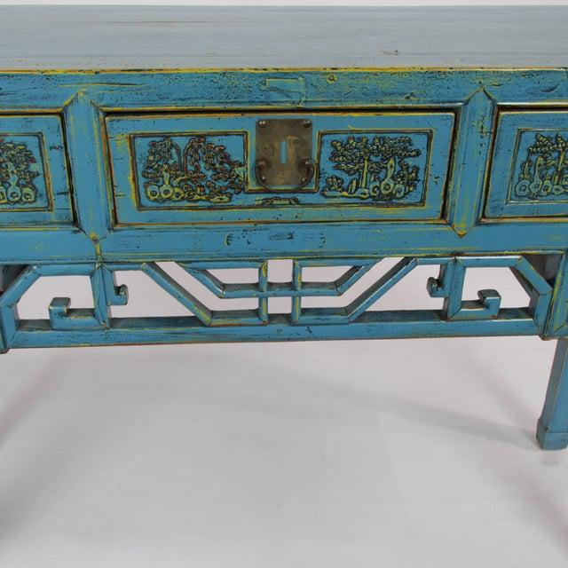Antique Hand-Carved Blue Desk For Sale - Image 5 of 5