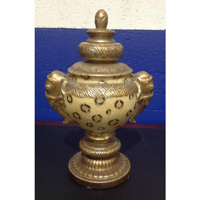 Ceramic Vintage Pedestal Animal Motif Urn With Lid & Elephant Handles For Sale - Image 7 of 7