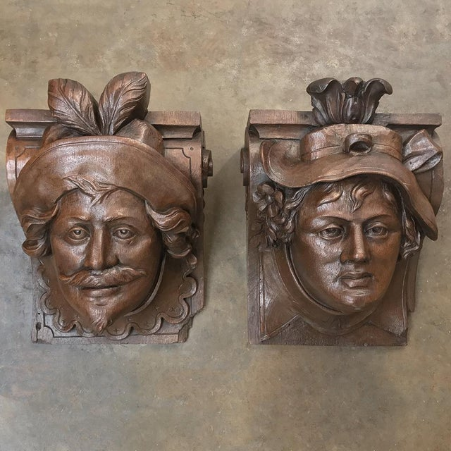 Renaissance Pair 19th Century Renaissance Wall Sconces ~ Corbels For Sale - Image 3 of 13