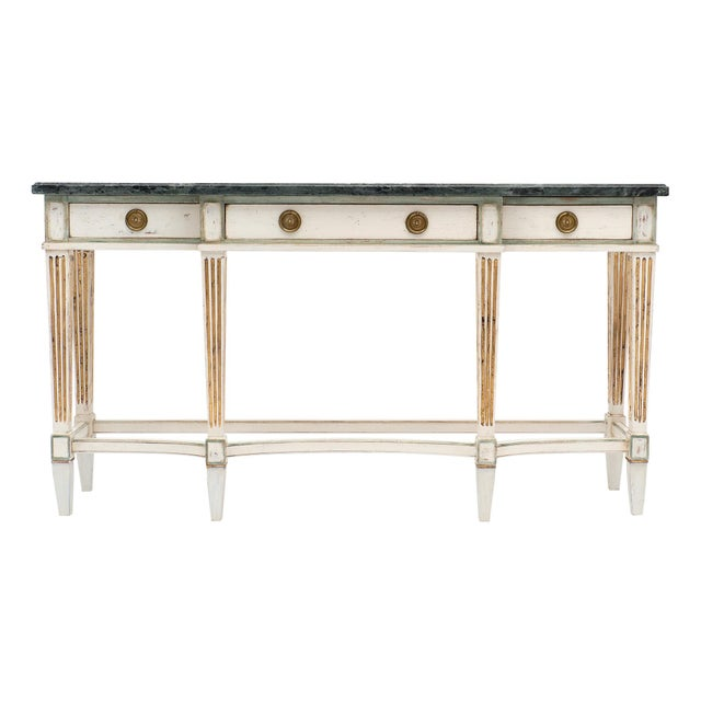 Directoire Style Console Table With Pietra Verde Marble Top For Sale - Image 10 of 10