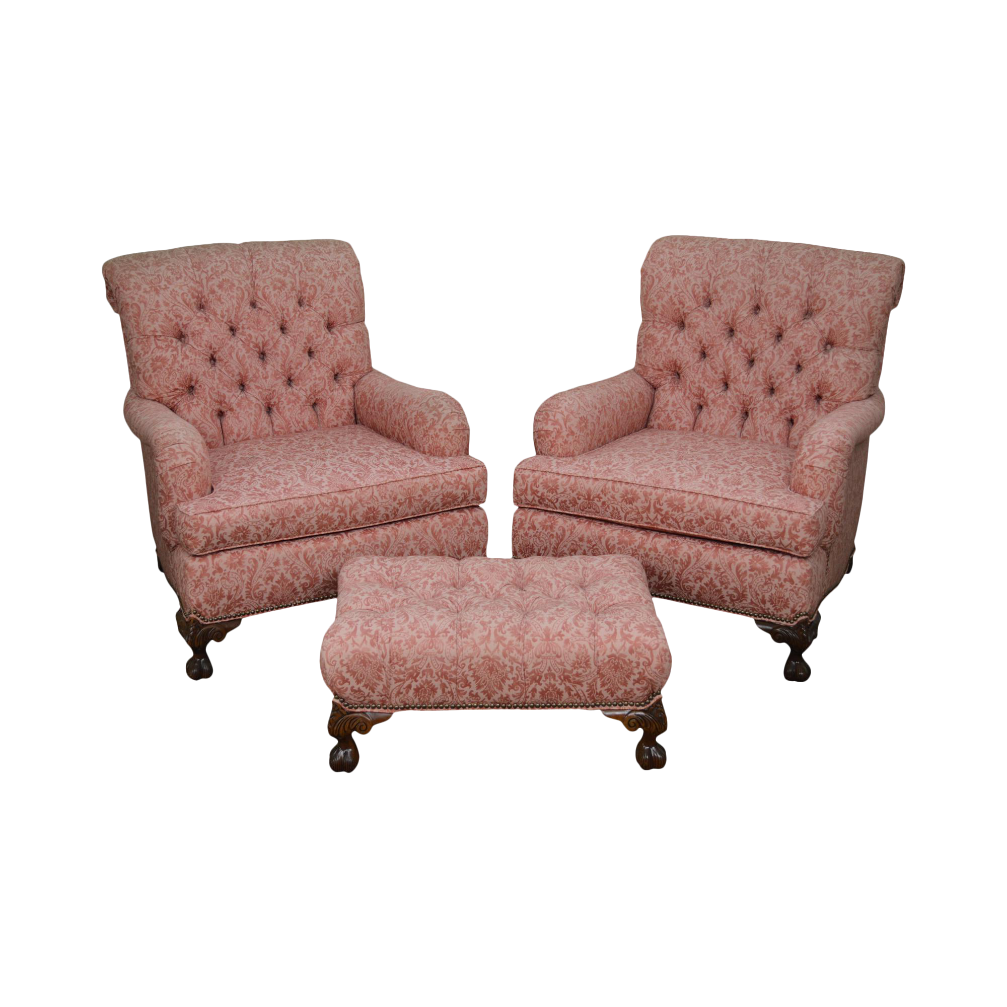 Stoneleigh Old Hickory Tannery Tufted Lounge Chairs u0026 Ottoman Set  sc 1 st  Chairish & Stoneleigh Old Hickory Tannery Tufted Lounge Chairs u0026 Ottoman Set ...