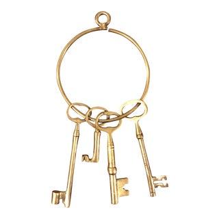 Brass Keys on Brass Ring For Sale